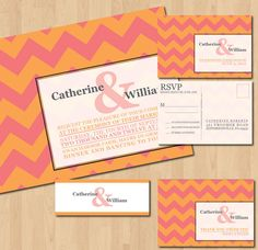 Printable Chevron Wedding Invitations by inkOVERpaperInvites