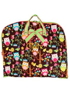 $18.50 Owl Give a Hoot Garment Bag with Lime Trim