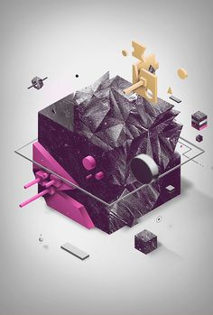 Black, Yellow & Pink. Colorful. Box. Illustration. Abstract. Design. Inspiration. Lines. Machine. Fractions. Parts. Center. Layers.