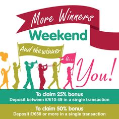 •.★.• WINNERS WEEKEND •.★.• Simply make a 2nd Deposit Anytime during Saturday or Sunday and we will give you up to 50% Bonus back! You can only claim one bonus, so make it count! £/€10-£/€49 get 25%, £/€50 or more 50% Give You Up, Bingo Games, Casino Games, Count, Sunday, Domingo