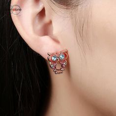 SUSENSTONE Fashion Owl Earrings Gold Jewelry Rose Gold