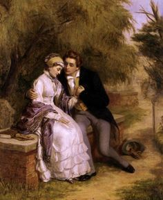Power couple: The Lover's Seat: Shelley and Mary Godwin in Old St Pancras Churchyard by William Powell Frith, 1877 Mary Shelley, Art Romantique, The Frankenstein, William Powell, Romantic Times, Art Ancien, Art Of Love, Vintage Romance, Mystique