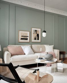 The pale green walls in this beautiful Swedish apartment work exceptionally well I think. They match the beige color palette very nicely and the nude linen pillow case* and throw* on the beige sofa really stand out against this wall … Continue reading → Living Room Color Schemes, Paint Colors For Living Room, Sofa Colors, Wall Colors, Beige Sofa Living Room, Beige Color Palette, Room Wall Painting, White Sofas, Piece A Vivre