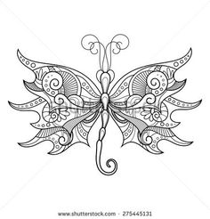 Abstract Dragonfly on White Background. Patterned design, Tattoo