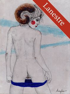 Original m04 Lanestre - Aktzeichnug - Erotik Zeichnung Nude Akt Art Drawing Bild