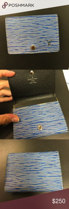 Louis Vuitton Epi leather card holder 100% authentic Louis Vuitton business card holder in Epi denim leather. Offers plenty of space for business cards or credit cards. In pristine condition. This color is sold out online. Louis Vuitton Bags Wallets