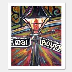 8x10 New Orleans Night Light Fine Art Print Bourbon street lamp post art by Angel Turner Dyke . Southern style affordable Louisiana art