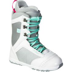 white and turquoise snowboarding boots