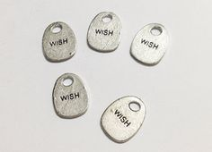 5 Pcs. Wish Charms, Wish Pendant, Wish Spacer, Silver Antique Charms, Necklace Charms, Jewelry Charms, Vintage Accessories, Taglines Charms on Etsy, $2.00