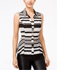 XOXO Juniors' Striped Peplum Sleeveless Shirt - Juniors Tops - Macy's