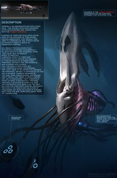 Its difficult to see how an aquatic species could develop a technological civilization, not to mention space travel. Monster Concept Art, Alien Concept Art, Creature Concept Art, Fantasy Monster, Subnautica Creatures, Weird Creatures, Fantasy Creatures, Mythical Creatures, Creature Feature