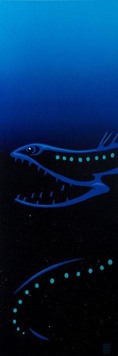 "Gulper Eel 12""x36"" Yellow Submarine, W 6, Deep Sea, Marine Life, Cool Art, Original Artwork, Carving, Wood Carvings, Sculptures"