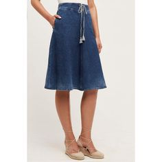 AG Heritage Denim A-Line Skirt ($198) ❤ liked on Polyvore featuring skirts, prairie, drawstring skirt, a line denim skirt, knee length denim skirt, denim skirt and knee length a line skirt