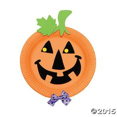 Paper Plate Jack-O'-Lantern Craft Kit, $5.50 for a set of 12 kits.  This could be fun, add a string to hang as Halloween house decor!?  OR we could get orange plates, and have the kids make their own w/ plain black/green/purple construction paper??