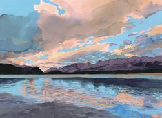 Eva Bartel, Evening, Lower Kananaskis Lake, watercolour Watercolor Landscape Paintings, Watercolour, Photo Galleries, Gallery, Art, Pen And Wash, Art Background, Watercolor Painting, Roof Rack