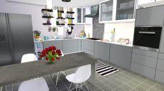 Black & White Kitchen at Dinha Gamer via Sims 4 Updates