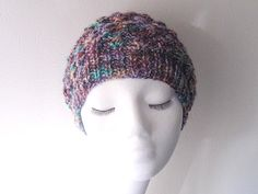 Knitted slouchy hat multi coloured hat chunky hat by yarnawayknits, £17.50