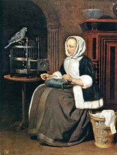 The Athenaeum - A Woman Sewing, with a Parrot (Gabriël Metsu - )