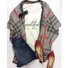 Happy Saturday... A lovely day for plaid. Plaid drape $36 | Tee $24 www.sexymodest.com #modestshoppin #sexymodestboutique #smbboutique