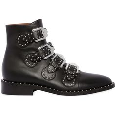 Givenchy Women 20mm Prue Studded Leather Ankle Boots ($1,470) ❤ liked on Polyvore featuring shoes, boots, ankle booties, black, short boots, black ankle bootie, black studded boots, low heel booties and ankle boots