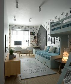 Cameretta ragazzo, stile scandinavo moderno, con le pareti decorate con sticker a forma di stelle e letto a soppalco - colori blu, bianco e nero
