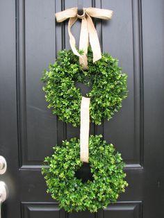 Boxwood Wreaths - Spring Boxwood - Burlap - Boxwood Wreath - Door Wreaths - Spring Wreaths. $70.00, via Etsy.