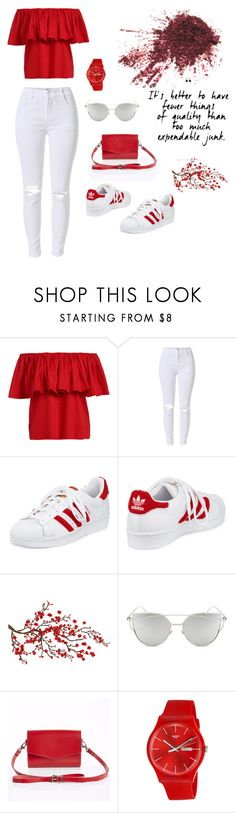 """""""^_^"""" by arijanagetos55 ❤ liked on Polyvore featuring adidas, Brewster Home Fashions, Chicnova Fashion, Zatchels and Swatch"""