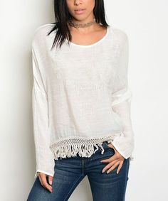 Forever Lily Ivory Sand Tassel-Trim Scoop Neck Top | zulily