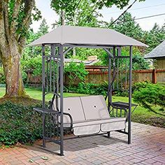 Outsunny Outdoor Garden 2 Seater Canopy Swing Chair Seat Porch Loveseat Vintage Hammock Cushioned Seat w/ and Side Drink Panel Garden Swing Seat, Bench Swing, Garden Canopy, Sun Shade Canopy, Canopy Swing, Outside Swing, Canopy Cover, Outdoor Living, Outdoor Decor