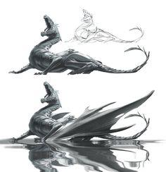Fishing - dragon WIP by VBagi on DeviantArt Dragon Face, Fantasy Artwork, Fishing, Deviantart, Lizards, Reign, Drawings, Characters, Space