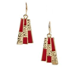 Pre-owned Women's Amrita Singh Red/Gold Earrings ($15) ❤ liked on Polyvore featuring jewelry, earrings, gold jewelry, red jewelry, yellow gold earrings, preowned jewelry and amrita singh jewellery