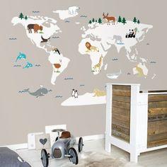 Vinilo mapamundi infantil con animales del mundo