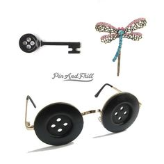 Coraline Button Key, Dragonfly clip and Button Eyes Set option Halloween Cosplay Costume Prop Inspired