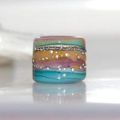 Candy Striped Handmade Lampwork Glass Dread Bead 5.5mm Hole