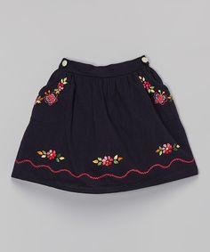 Little Cotton Dress Navy Leslie Butterfly Embroidered Skirt - Toddler & Girls