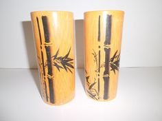 Real Vintage Bamboo wood Tumblers by Gem2thei on Etsy