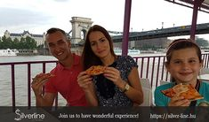 Budapest river cruise with pizza and beer.