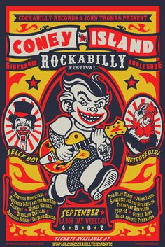 Rockabilly Festival on Coney Island.great poster design but a bit creepy! Carnival Posters, Circus Poster, Circus Art, Illustration Photo, Graphic Design Illustration, Digital Illustration, Musikfestival Poster, Poster Prints, Graphic Posters