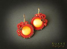 Red soutache earrings Cat eye earrings Women accessory por pUkke