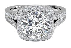 Masterwork Cushion Halo Diamond 'V' Band Engagement Ring - in Platinum (0.44 CTW)