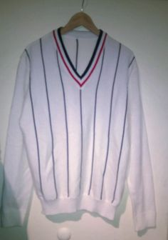 Vintgage 80s Pullover V-neckline White Striped sweater Preppy Tennis Pullover VINTAGE SWEATER White Slimfit Mens Sweater Knitwear M by VirtageVintage on Etsy