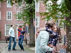 Fun Couple Throwing Cherry Blossom Flowers in Air Kissing, Spring Engagement Session Old City Cobblestone Street, Center City Philadelphia, Hannah Chen Photography, www.hannahchenphotography.com