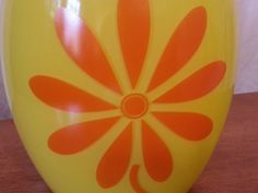 Mid Century Cookie Jar Bright yellow with Orange Daisy by PastBack