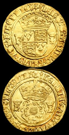 Crown Of The Double Rose (S.2279). Henry VIII (1509-1547) Obv. - Crowned double rose. Rev. - Crowned shield. Crowned letters H and I on both sides stand for Henry and Jane Seymour issue (1536-1537). Arrow or pheon mintmark (top). 3.67 grams.