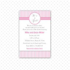 #BabyShowerInvitation Its A Girl Baby Shower Invitation Card - Pink Stripes Baby Girl Shower Invite Printable Personalized Party Invite its a girl invite stripes invitation monogram invite baby shower invite shower invitation baby shower party party invitation baby girl shower baby boy shower boy shower invite girl shower invite shower invite its a girl 12.99 USD pinkthecat