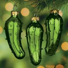 Traditional German Christmas Pickle...find the pickle on the tree and get an extra Christmas treat!~ ha ha we had so much fun with this over the years! <3