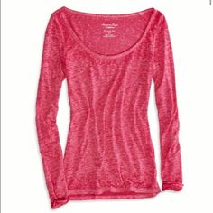 New American Eagle Favorite Long Sleeve Tee New, never worn, American Eagle Favorite Tee in berry. Burnout material and a scoop neckline. American Eagle Outfitters Tops Tees - Long Sleeve