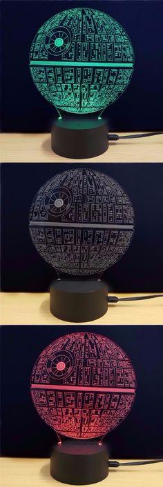 M.Sparkling Creative 3D LED Lamp The Death Star Shape Table Lamp