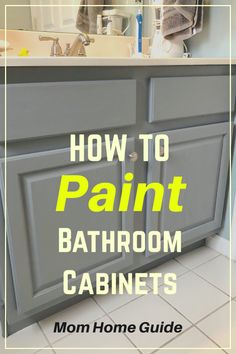 Lauren of Mom Home Guide transforms a dated oak cabinet into a beautiful bathroom vanity with easy to use Satin Enamels Paint by Americana Decor. Oak Bathroom Vanity, Painting Bathroom Cabinets, Bathroom Vanity Makeover, Diy Vanity, Bathroom Ideas, Master Bathroom, Bathroom Tiling, Simple Bathroom, Bathroom Colors