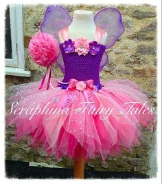 Items similar to Girls Fairy Tutu Dress Costume. Lined Purple & Pink Sparkly Birthday Party Gala Gown With Matching Wings. Handmade by Seraphina Fairy Tales on Etsy Diy Tutu Skirt, Crochet Tutu Dress, Sparkly Gown, Pink Sparkly, Flower Girl Tutu, Ballerina Tutu, Princess Tutu Dresses, Gala Gowns, Baby Girl Dress Patterns